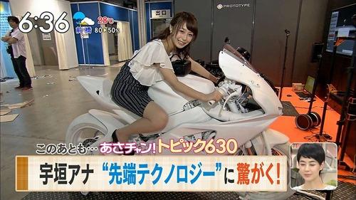 宇垣美里アナが、タイトスカートでバイクに足を広げて乗った結果www(画像あり)のサムネイル画像