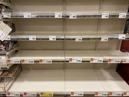 【画像】東京、スーパーの買占め始まるwwwwwwwwwwww