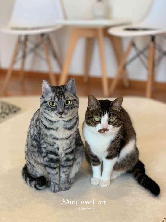 どっちが本物かわからない…!実物大羊毛フェルトで作った猫ちゃんがリアルすぎるwww