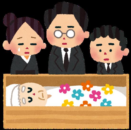 葬式 ← 「死んだ記念に親戚総出で寿司食う会」に名前変えろ・・・