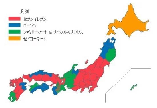 【画像】最新のコンビニ勢力図がこちら!これもう三国志だろwwwwwwww
