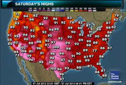 【画像】アメリカって気温100度近いんやなwww
