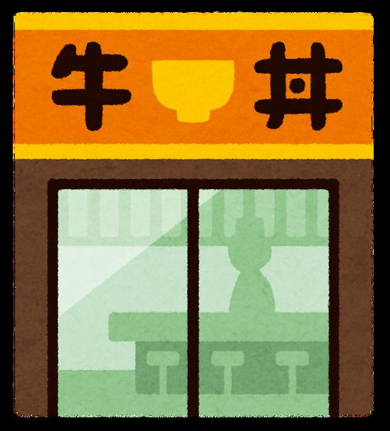 吉野家 → うまい。松屋 → みそ汁がつく。すき家 → トッピングが豊富。