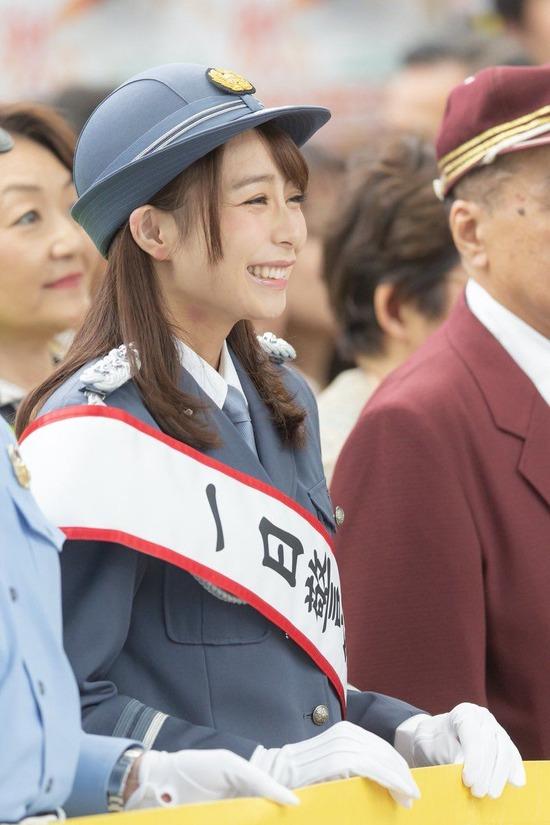 宇垣美里アナ、キスマークがついた状態で1日警察署長にwww