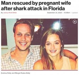 【画像】妊娠中の妻、サメに襲われた夫を海に飛び込み救助wwwww