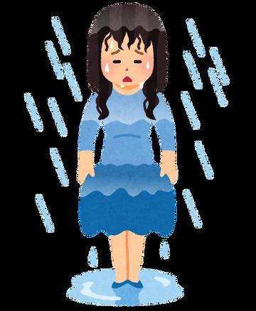女子アナさん、雨でスカートが濡れてラインがくっきり透けてしまう