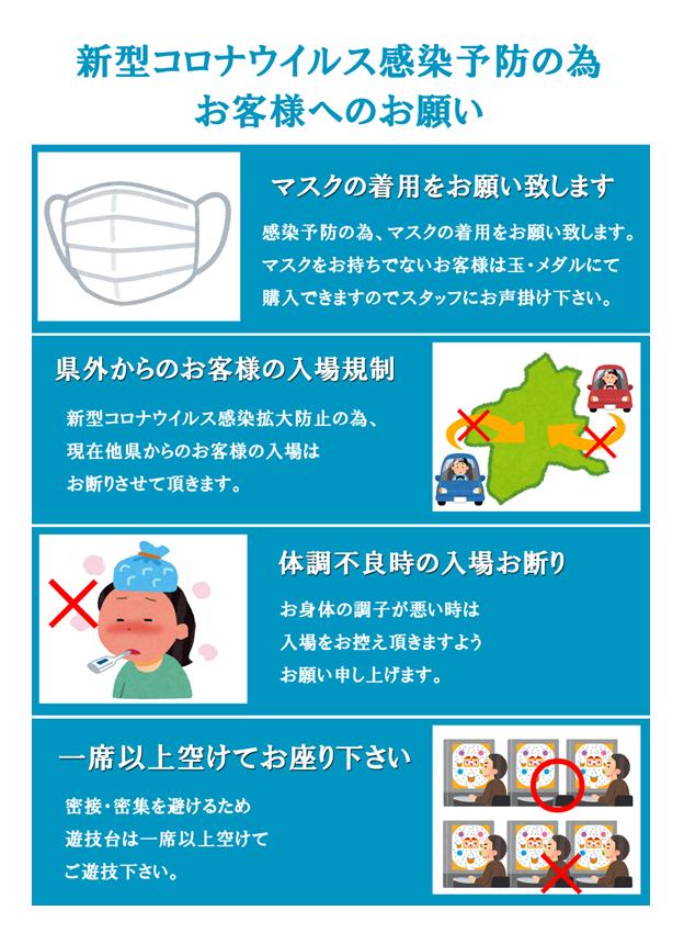 新型コロナウイルス感染予防の為<br>お客様へのお願い<br>◆マスクの着用をお願い致します<br>感染予防の為、マスクの着用をお願い致します。<br>マスクをお持ちでないお客様は玉・メダルにて<br>購入できますのでスタッフにお声掛け下さい。<br>◆県外からのお客様の入場規制<br>新型コロナウイルス感染拡大防止の為、<br>現在他県からのお客様の入場は<br>お断りさせて頂きます。<br>◆体調不良時の入場お断り<br>お身体の調子が悪い時は<br>入場をお控え頂きますよう<br>お願い申し上げます。<br>◆一席以上空けてお座り下さい<br>密接・密集を避けるため<br>遊技台は一席以上空けて<br>ご遊技下さい。<br>