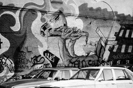 壁アートだ