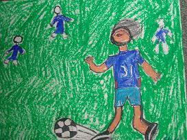 サッカー絵画