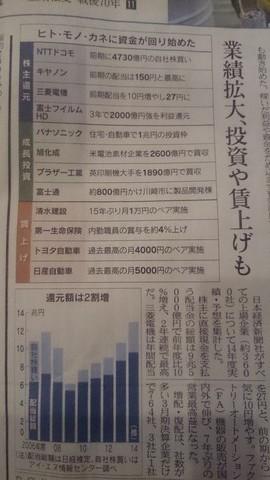 『株主還元、最高の13兆円』(日本経済新聞2014.4.5)