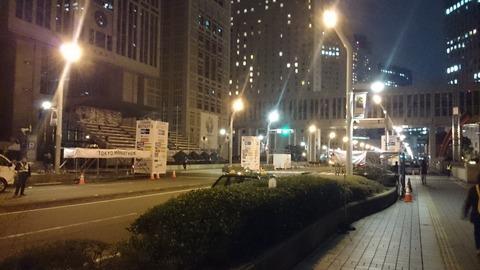 東京マラソンの前夜の舞台裏 新宿都庁前にて