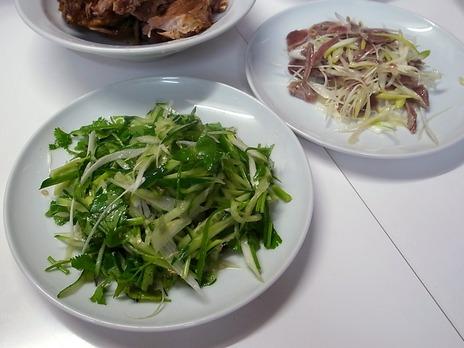 青菜と砂肝の
