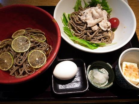 へべす蕎麦と胡麻ダレ豚しゃぶ蕎麦@神楽坂文楽