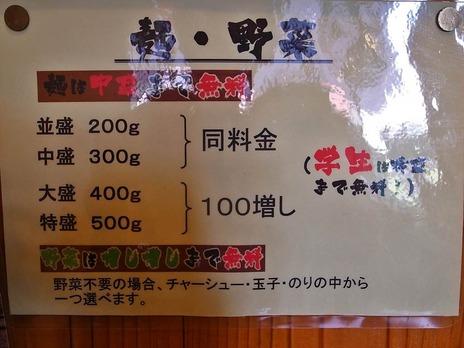 麺屋鉄野菜増量の説明