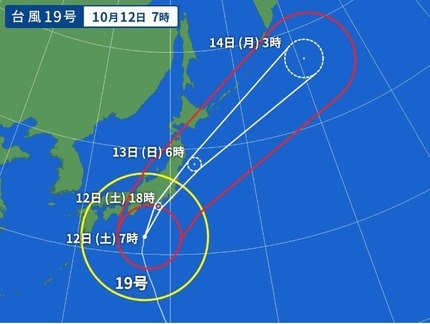 台風19号 午前8時の進路