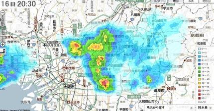 寝屋川市周辺部で激しい雨