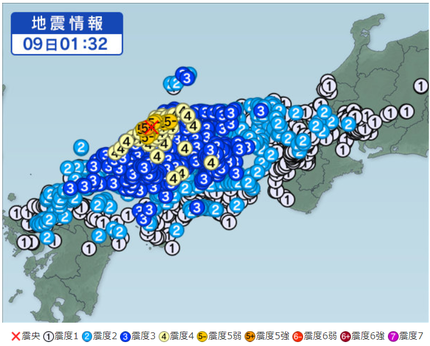 島根県西部の地震 2018年4月9日