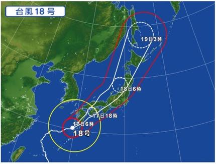 台風18号 9月17日6時