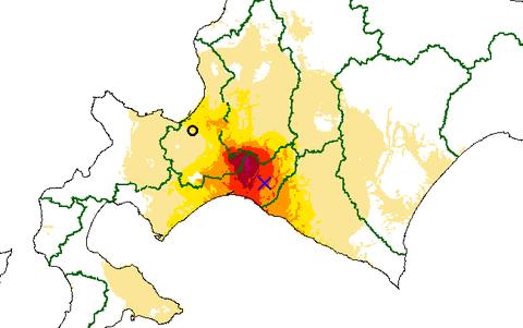 推計震度分布図 2018年09月06日03時08分 胆振地方中東部