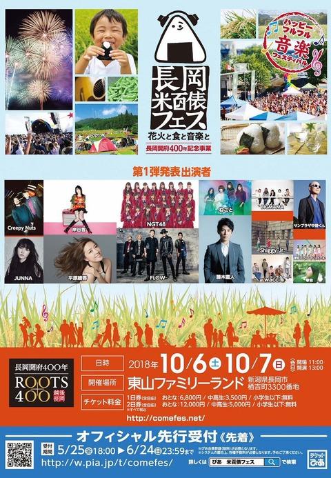 【NGT48】「長岡米百俵フェス 花火と食と音楽と」にNGT48の出演が決定!【18.10/6~7】