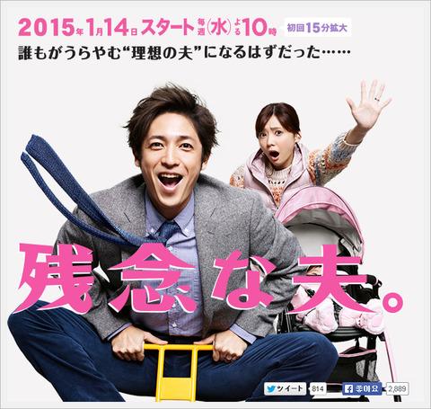 【乃木坂46】生田絵梨花出演ドラマ「残念な夫。」初回視聴率9・4%ならまあまあだな