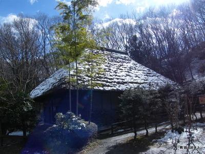 20100206087薬師池公園わらぶき屋根雪