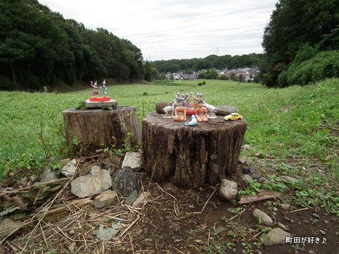 2011092335ナニコレ!そば畑の横に置かれた人形たち