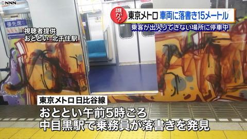 【迷惑!】東京メトロ 車両に落書き15メートル 今年2度目の被害