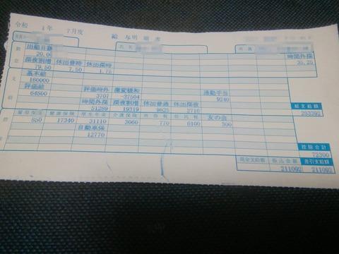 【画像】ワイ46歳勤続13年の給料明細を見せたるぞ