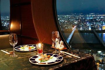 フリー画像 夜の高層レストラン