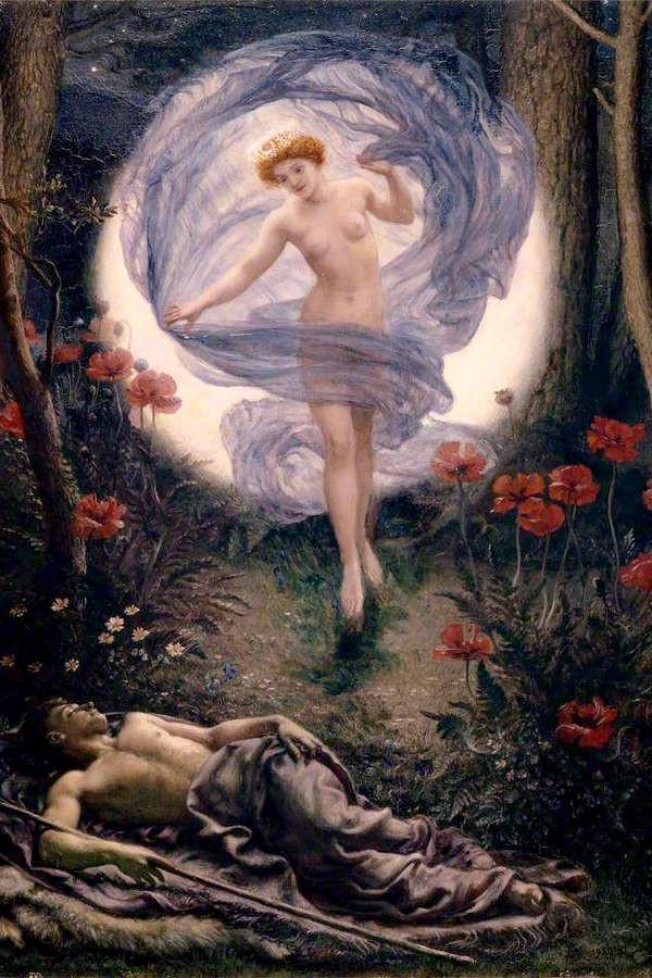永遠に眠るエンディミオンを見守る月の女神セレーネ