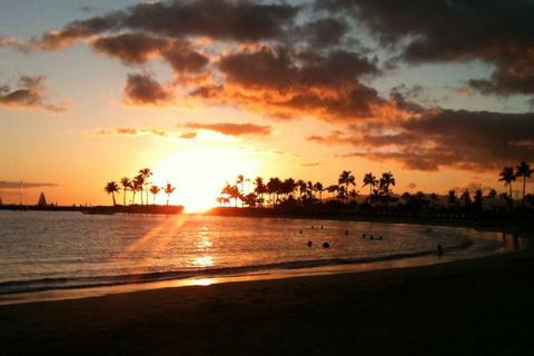 ハワイの夕日(フリー画像)