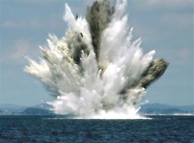 海上で大爆発