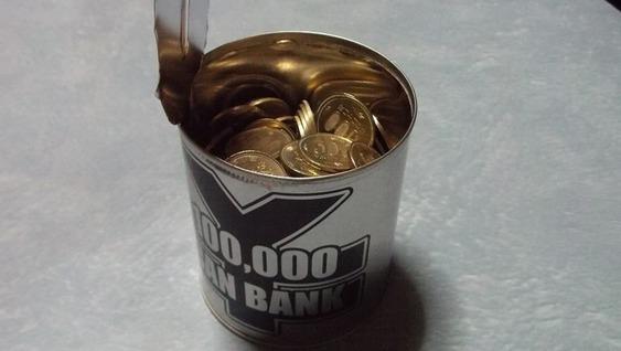 10万貯金箱を開けましたっ! (貯金箱を開けた時の写真)