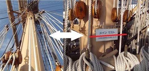 帆船日本丸の帆を張るマスト部の2写真を1つに加工写真