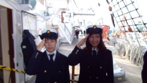 若くて可愛い女性船員実習生の2人