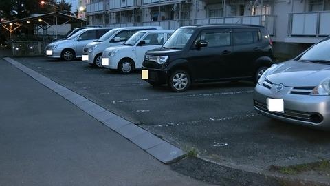 引越した団地の駐車場 と駐輪場の写真