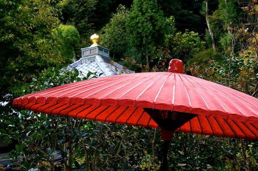 151029長谷寺 赤い傘