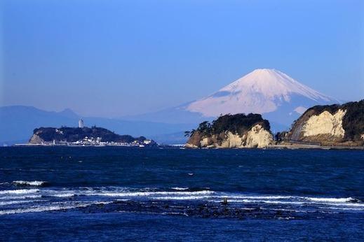 160217材木座海岸 富士山