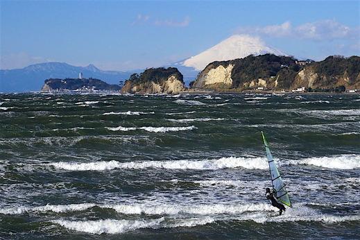 160119材木座海岸富士山2