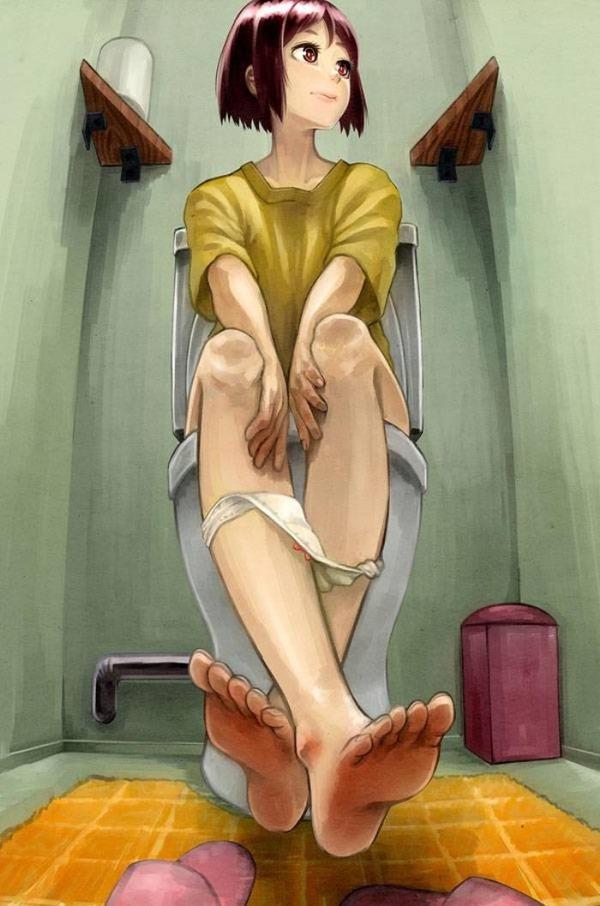 トイレでオシッコしてる女の子-015
