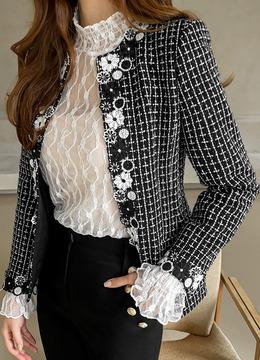 フラワー刺繍ノーカラーツイードジャケット
