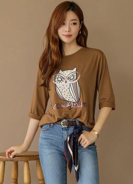 スパンコール刺繍フクロウTシャツ