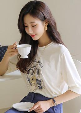 メタリックビックレタリング刺繍7部袖Tシャツ