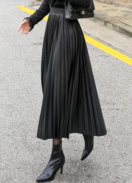 エコレザープリーツロングスカート