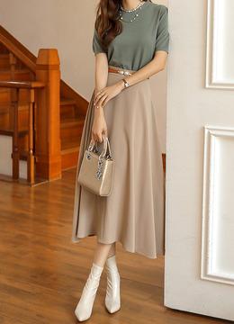 5カラーロングフレアスカート