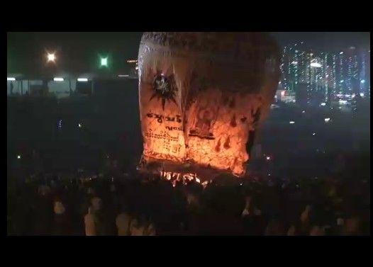 【衝撃映像】巨大な熱気球が爆発