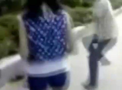 若い女性に本気で暴力を振るう中国人男性