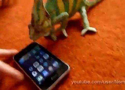 iPhoneに絶叫するカメレオン