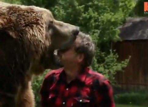 熊と戯れる男性
